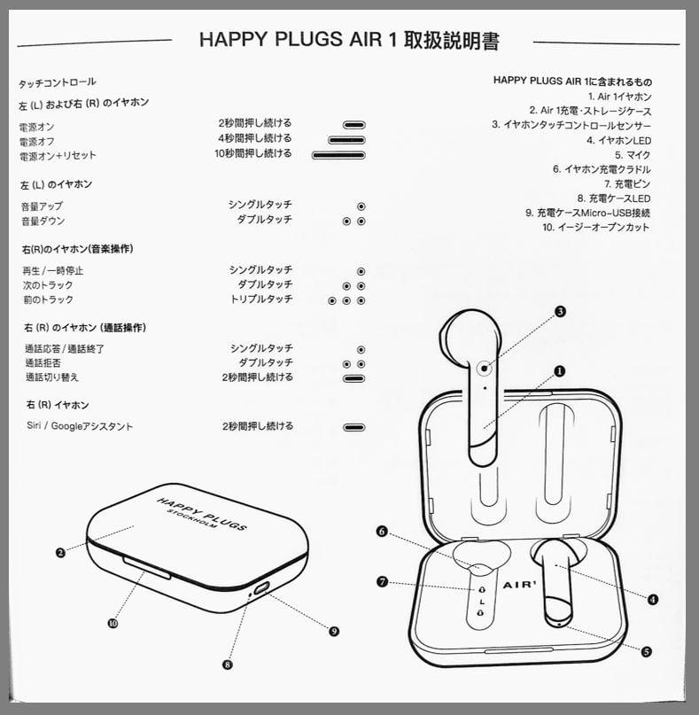 Happy Plugs air1(ワイヤレスイヤホン)の取扱説明書